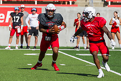 NORMAL, IL - August 14: Bryce Jefferson, Kevin Brown<br /> during a college football pre-season scrimmage of the  ISU (Illinois State University) Redbirds August 14 2021 at Hancock Stadium in Normal, IL. (Photo by Alan Look)