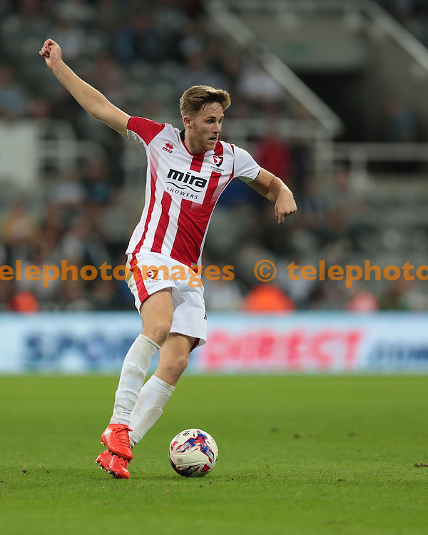Cheltenham Town midfielder Asa Hall (14) in action during the EFL Cup Round Two match between Newcastle United and Cheltenham Town at St. James' Park in Newcastle. August 23, 2016.<br /> Nigel Pitts-Drake / Telephoto Images<br /> +44 7967 642437