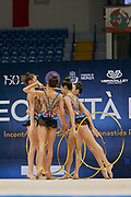 """Italian Junior Group during the """"1st Trofeo Citta di Monza"""" tournament. On this occasion we have seen the rhythmic gymnastics teams of Belarus and Italy challenge each other. The Bilateral period was only June 9, 2019 at the Candy Arena in Monza, Italy."""