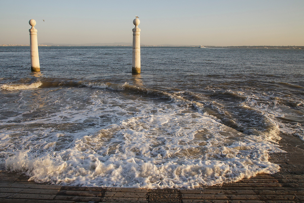 Cais das Colunas (Columns Pier)  by the Tagus riverside. The pier is part of Terreiro do Paço, the largest Lisbon square, and is one of the most well-know place to visit in Lisbon.