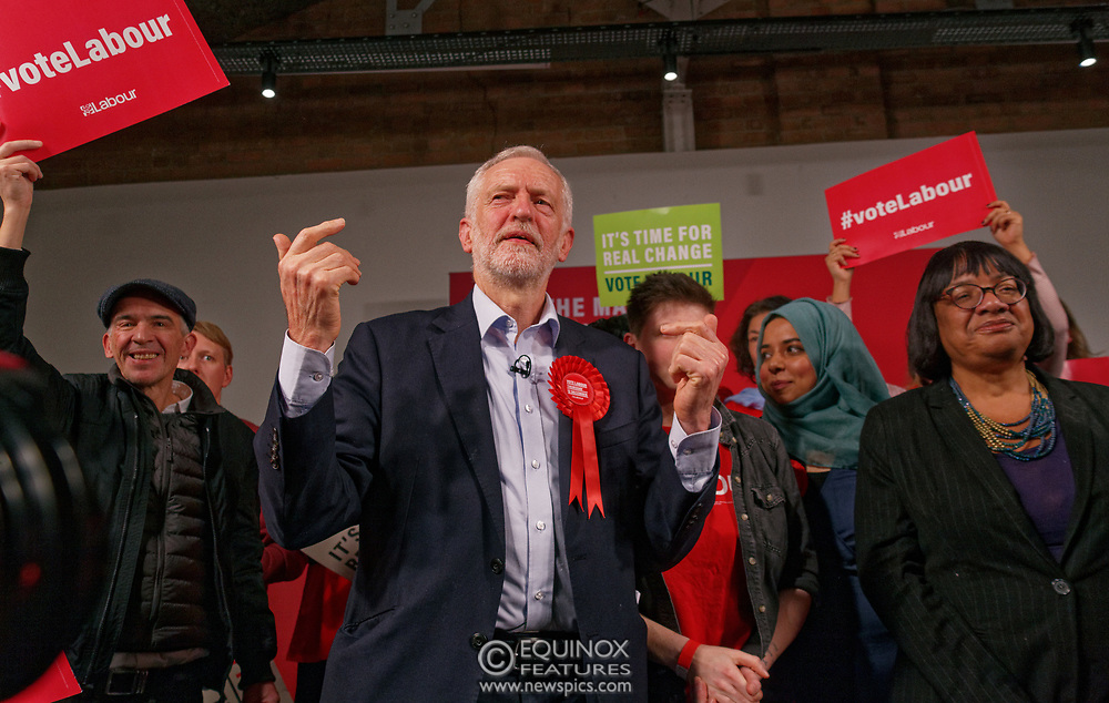 London, United Kingdom - 11 December 2019<br /> Labour Party leader Jeremy Corbyn speaking at their final campaign rally before the General Election 2019 at Hoxton Docks, London, England, UK.<br /> (photo by: EQUINOXFEATURES.COM)<br /> Picture Data:<br /> Photographer: Equinox Features<br /> Copyright: ©2019 Equinox Licensing Ltd. +443700 780000<br /> Contact: Equinox Features<br /> Date Taken: 20191211<br /> Time Taken: 21574244<br /> www.newspics.com