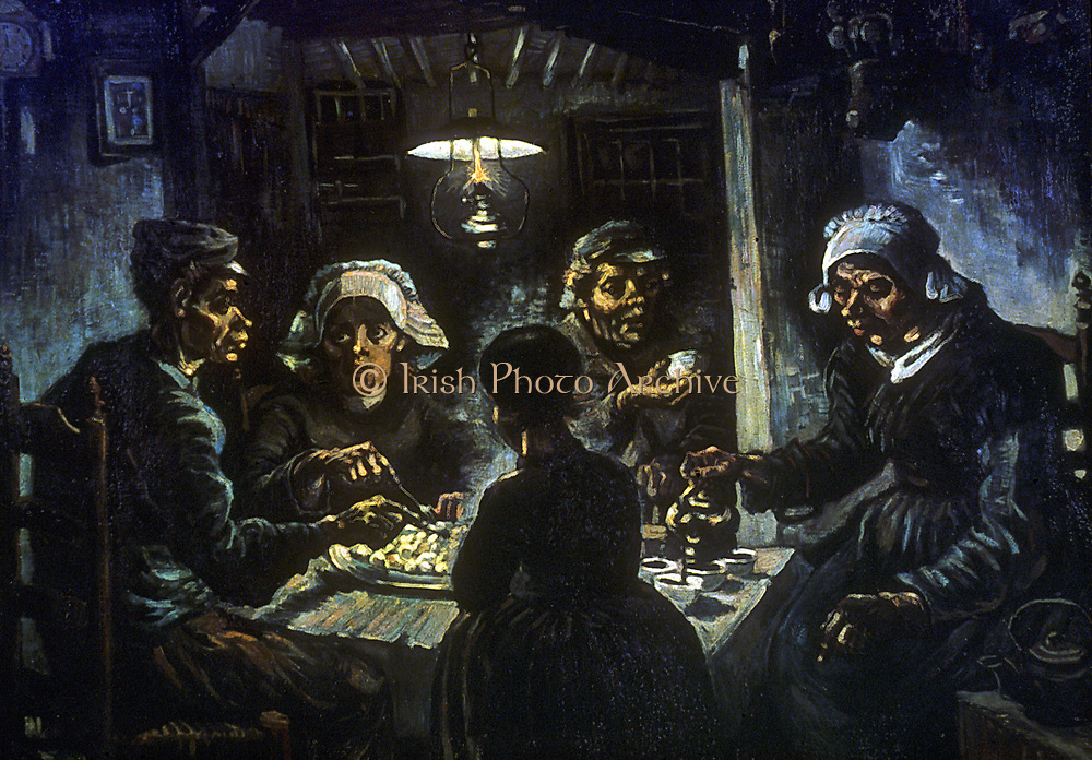 The Potato Eaters'. 1885: Vincent Van Gogh (1853-1890) Dutch Post-Impressionist.