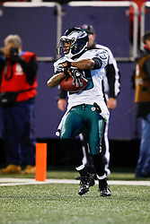Philadelphia Eagles wide receiver DeSean Jackson #10 reacts after scoring a touchdown during the NFL game between the Philadelphia Eagles and the New York Giants on December 13th 2009. The Eagles won 45-38 at Giants Stadium in East Rutherford, New Jersey. (Photo By Brian Garfinkel)