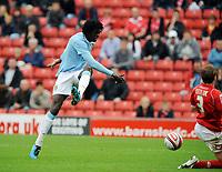 Oakwell Barnsley v Manchester City  (1-1) 01/08/2009<br /> Emanuel Adebayor   (Manchester City)<br /> Photo Roger Parker Fotosports International
