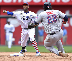 July 2, 2017 - Kansas City, MO, USA - Kansas City Royals shortstop Alcides Escobar forces out Minnesota Twins' Miguel Sano at second and completes the double play on Eduardo Escobar to end the top of the fifth inning on Sunday, July 2, 2017 at Kauffman Stadium in Kansas City, Mo. (Credit Image: © John Sleezer/TNS via ZUMA Wire)