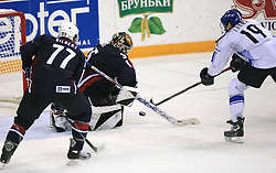 Goalkeeper Robert Esche vs Mikko Luoma of Finland at play-off round quarterfinals ice-hockey game USA  vs Finland at IIHF WC 2008 in Halifax,  on May 14, 2008 in Metro Center, Halifax, Nova Scotia,Canada. Win of Finland 3 : 2. (Photo by Vid Ponikvar / Sportal Images)