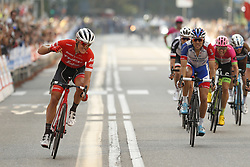 October 9, 2018 - Varesse, Italy - Winner Latvian TOMS SKUJINS of Trek-Segafredo celebrates ahead of second French Thibaut Pinot of FDJ on the finish line of the 98th Tre Valli Varesine one day cycling race, 212 km from Saronno to Varese. (Credit Image: © Yuzuru Sunada/Belga via ZUMA Press)