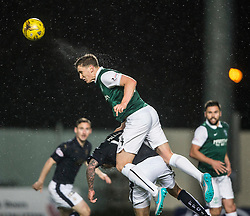 Hibernian's Paul Hanlon over Falkirk's  Leee Miller. Falkirk 0 v 1 Hibernian, Scottish Championship game played 20/10/2015 at The Falkirk Stadium.