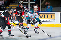 KELOWNA, CANADA - JANUARY 3: Rourke Chartier #14 of Kelowna Rockets skates against the Prince George Cougars on January 3, 2015 at Prospera Place in Kelowna, British Columbia, Canada.  (Photo by Marissa Baecker/Shoot the Breeze)  *** Local Caption *** Rourke Chartier;