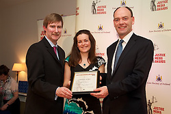 The Law Society of Ireland annual Justice Media Awards 2012. Thrusday 7th June 2012...The Law Society of Ireland (Thursday, 7th June, 2012) announced the winners of its annual Justice Media Awards 2012. ..These awards, which are 20 years in existence, focus on published works or broadcasts that have helped to inform and educate Irish citizens on the role of law in society. The aim is to give national recognition to published works or broadcasts that: ..1).Promote the highest standards in legal journalism;.2).Foster greater public understanding of the law, the legal system or any specific legal issue;.3).Inform and educate citizens as to the roles in society of the law, the courts, law enforcement agencies and the legal profession;.4).Disclose practices or procedures needing reform so as to encourage the development and modernisation of Irish laws, courts and law enforcement agencies; and/or.5).Assist the legal profession, the judiciary, and all others involved in the administration of justice in attaining the highest professional standards. ..The Law Society wholeheartedly congratulates all of today's winners of 'Justice Media Awards' and 'Certificates of Merit'. ..This broad-sweeping series took an extremely critical look at the legal system. It was informed and informative and while critical of many aspects of the legal system, was balanced in its approach. It succeeded admirably in informing the general public about the most salient challenges facing the legal system today.?.The Law Society wholeheartedly congratulates all of today's winners of 'Justice Media Awards' and 'Certificates of Merit'. .Carol Byrne of The Clare Champion for her article 'The cost of journalistic error in the courts'...Pictured at the awards.Ken Murphy, Ken Murphy, Director General of the Law Society of Ireland. .Carol Byrne of The Clare Champion for her article 'The cost of journalistic error in the courts'..President of Law Society of Ireland, Donald Binchy.....What the judges said: .?T