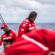 Leg 02, Lisbon to Cape Town, day 07, on board MAPFRE, Joan Vila mirando hacia vestas y Pablo Arrarte a la caña. Photo by Ugo Fonolla/Volvo Ocean Race. 11 November, 2017