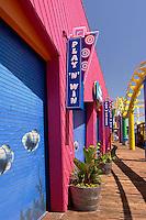 Pacific Park Colorful Walkway and Rollercoaster on the Santa Monica Pier, Santa Monica, California