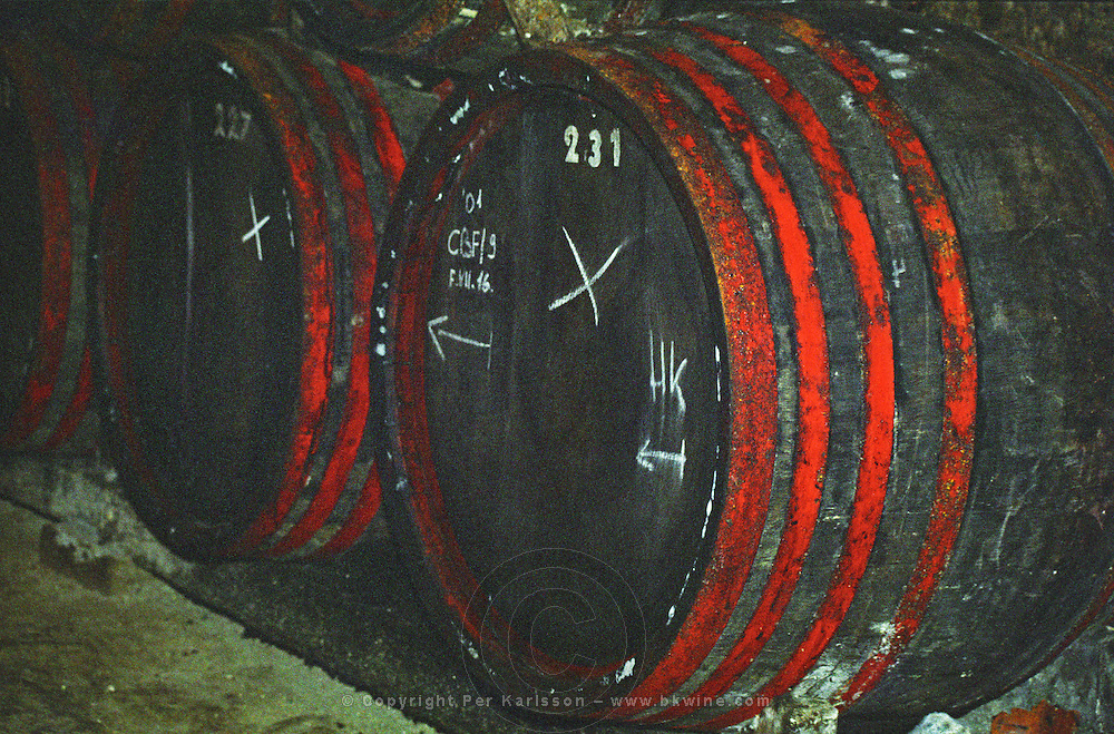 The Tibor Gal (GIA) winery in Eger (famous for Egri Bikaver): underground tunnels with rows of barrels filled with wine. Tibor Gal is one of the leading growers and wine makers in Eger. The company was founded in 1993 in collaboration with Nicolo Incisa della Rochetta (Sassicaia, Italy) and Alpine from Germany