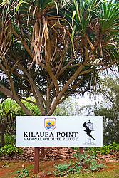 Kilauea Point National Wildlife Refuge sign, Kauai, Hawaii, Pacific Ocean