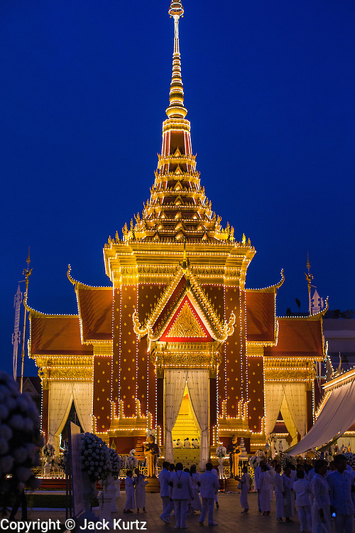 """03 FEBRUARY 2013 - PHNOM PENH, CAMBODIA:   The crematorium built for the King Sihanouk's funeral at the National Museum in Phnom Penh. Norodom Sihanouk (31 October 1922- 15 October 2012) was the King of Cambodia from 1941 to 1955 and again from 1993 to 2004. He was the effective ruler of Cambodia from 1953 to 1970. After his second abdication in 2004, he was given the honorific of """"The King-Father of Cambodia."""" He served as puppet head of state for the Khmer Rouge government in 1975-1976, before going into exile. Sihanouk's actual period of effective rule over Cambodia was from 9 November 1953, when Cambodia gained its independence from France, until 18 March 1970, when General Lon Nol and the National Assembly deposed him. Upon his final abdication in 2004, the Cambodian throne council appointed Norodom Sihamoni, one of Sihanouk's sons, as the new king. Sihanouk died in Beijing, China, where he was receiving medical care, on Oct. 15, 2012. His cremation will take place on Feb. 4, 2013. Over a million people are expected to attend the service.   PHOTO BY JACK KURTZ"""