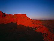 The Flaming Cliffs of Mongolia in the Gobi Desert where the first dinosaur eggs were discovered.