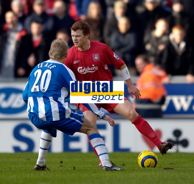 Photo: Jed Wee.<br />Wigan Athletic v Liverpool. The Barclays Premiership. 11/02/2006.<br />Liverpool's John Arne Riise looks to attack.