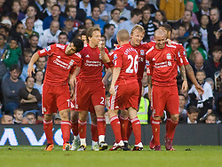 09.05.2011, Craven Cottage, London, ENG, PL, FC Fulham vs FC Liverpool, im Bild Liverpool's Dirk Kuyt celebrates with team mates after scoring Liverpool's third goal, English Premier League, Fulham v Liverpool,  Craven Cottage, London, 09/05/2011. EXPA Pictures © 2011, PhotoCredit: EXPA/ IPS/ Mark Greenwood +++++ ATTENTION - OUT OF ENGLAND/UK and FRANCE/FR +++++