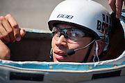 Sebastiaan Bowier zit in de VeloX3. Op de Race Away baan bij Venray maakt de nieuwe fiets van het Human Powered Team Delft en Amsterdam, de VeloX3. Met de speciale ligfiets wil het team dat bestaat uit studenten van de TU Delft en de VU Amsterdam het wereldrecord fietsen verbreken. Dat staat nu op 133 km/h.<br /> <br /> At the Race Away track near Venray the new bike of the Human Powered Team Delft and Amsterdam, the VeloX3. With the special recumbent bike the team, consisting of students of the TU Delft and the VU Amsterdam, wants to set a new world record cycling. The current speed record is 133 km/h.