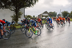 The peloton speed by at the 2020 Liège Bastogne Liège, a 135 km road race from Bastogne to Liège, Belgium on October 4, 2020. Photo by Sean Robinson/velofocus.com