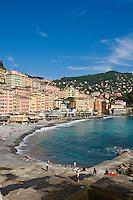 Waterfront buildings and beach, Camogli, Liguria, Italy