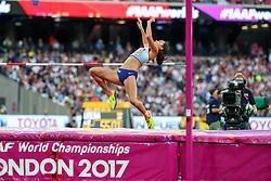 London, August 12 2017 . Katarina Johnson-Thompson, Great Britain, the women's high jump final on day nine of the IAAF London 2017 world Championships at the London Stadium. © Paul Davey.