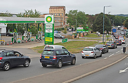 © Licensed to London News Pictures 25/09/2021.<br /> Sidcup, UK, No fuel at the BP petrol station on Edgington Way in Sidcup, London. Queuing traffic from the local Tesco station runs past this empty BP station which is about a quarter of a mile. BP has started to ration petrol and diesel due to a shortage of truckers. Photo credit:Grant Falvey/LNP