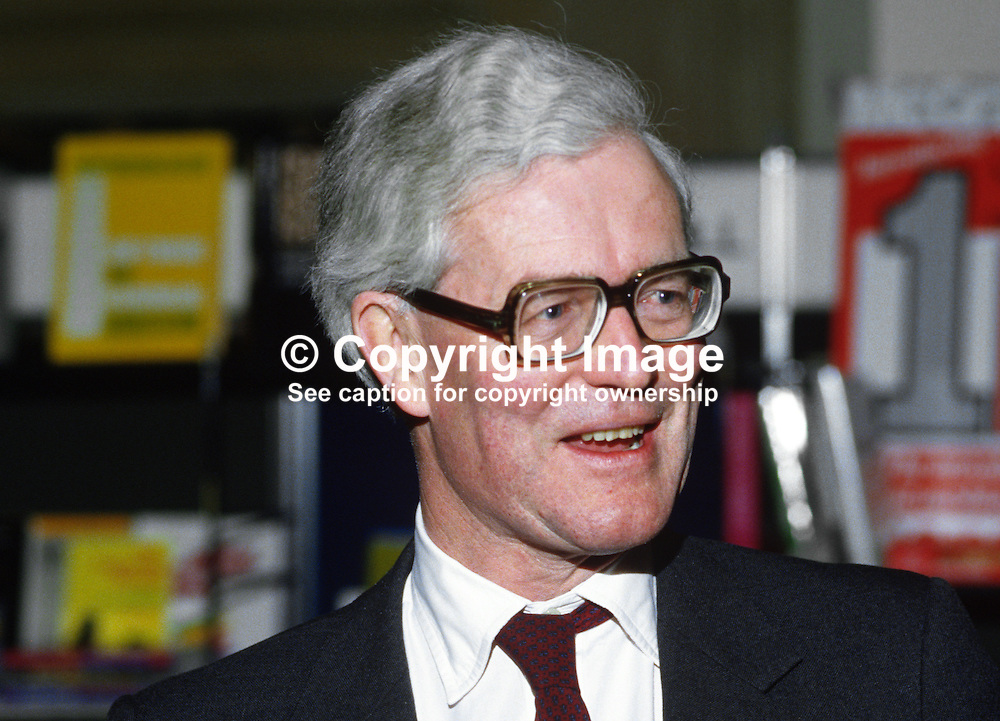 Douglas Hurd, Secretary of State for N Ireland, UK, 19850021DH2.<br /> <br /> Copyright Image from Victor Patterson, Belfast, UK<br /> <br /> t: +44 28 9066 1296 (from Rep of Ireland 048 9066 1296)<br /> m: +44 7802 353836<br /> e: victorpattersonbelfast@gmail.com<br /> <br /> www.images4media.com<br /> <br /> Please see my full Terms and Conditions of Use at https://www.images4media.com/p/terms-conditions - it is IMPORTANT that you familiarise yourself with them.<br /> <br /> Images used online incur an additional cost. This cost should be agreed in writing in advance. Online images must be visibly watermarked i.e. © Victor Patterson or that of the named photographer within the body of the image. The original metadata must not be deleted from images used online.<br /> <br /> This image is only available for the use of the download recipient i.e. television station, newspaper, magazine, book publisher, etc, and must not be passed on to a third party. It is also downloaded on condition that each and every usage is notified within 7 days to victorpattersonbelfast@gmail.com.<br /> <br /> The right of Victor Patterson (or the named photographer) to be identified as the author is asserted in accordance with The Copyright Designs And Patents Act (1988). All moral rights are asserted.