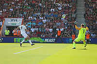 Football - 2018 / 2019 Premier League - AFC Bournemouth vs. Fulham<br /> <br /> Aleksandar Mitrovic of Fulham blasts a shot over the bar during the Premier League match at the Vitality Stadium (Dean Court) Bournemouth  <br /> <br /> COLORSPORT/SHAUN BOGGUST