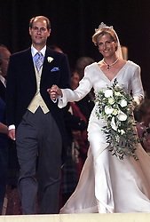 Prince Edward and his wife Sophie Rhys-Jones leave St George's Chapel in Windsor, following their wedding.