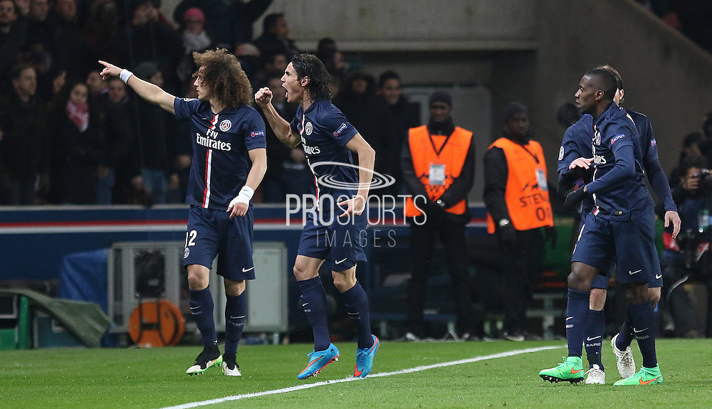 Paris Saint-Germain Edinson Cavani celebrates his goal during the Champions League match between Paris Saint-Germain and Chelsea at Parc des Princes, Paris, France on 17 February 2015. Photo by Phil Duncan.