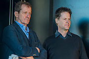 Alastair Campbell and Nick Clegg on stage - Unite for Europe march attended by thousands on the weekend before Theresa May triggers article 50. The march went from Park Lane via Whitehall and concluded with speeches in Parliament Square.