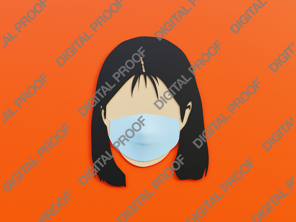 Woman wearing medical mask as protection in Lava Orange background with minimalist concept - 3D Rendering Concept