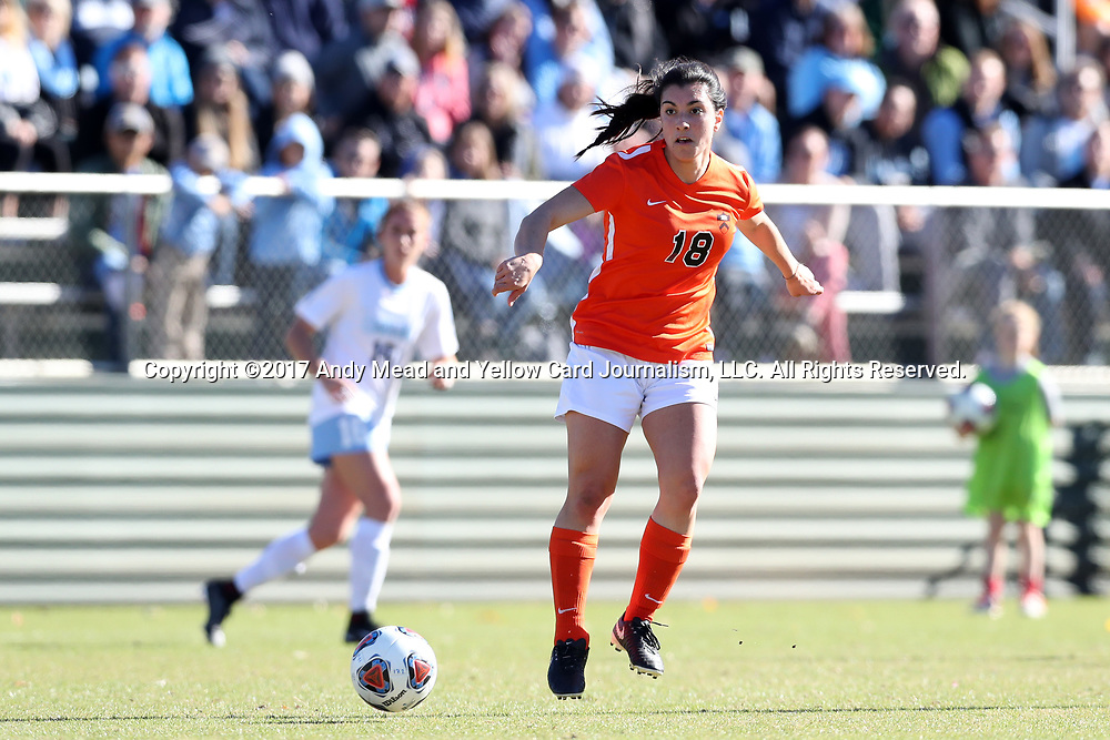 CARY, NC - NOVEMBER 19: Princeton's Alessia Azermadhi (CAN). The University of North Carolina Tar Heels hosted the Princeton University Tigers on November 19, 2017 at Koka Booth Stadium in Cary, NC in an NCAA Division I Women's Soccer Tournament Third Round game. Princeton won 2-1 in sudden death overtime.