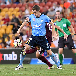 BRISBANE, AUSTRALIA - FEBRUARY 3: Brandon O'Neill of Sydney controls the ball during the round 18 Hyundai A-League match between the Brisbane Roar and Sydney FC at Suncorp Stadium on February 3, 2017 in Brisbane, Australia. (Photo by Patrick Kearney/Brisbane Roar)