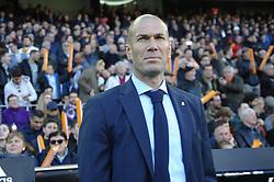 January 27, 2018 - Valencia, Spain - Zinedine Zidane  during the match between Valencia CF against Real Madrd, week 21 of La Liga 2017/187 at Mestala stadium, Valencia, SPAIN - 27th January of 2018. (Credit Image: © Jose Breton/NurPhoto via ZUMA Press)