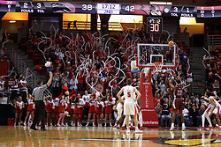 08 February 2018:  Armon Fletcher shoots a free throw in front of the Red Alert student fan section during a College mens basketball game between the Southern Illinois Salukis and Illinois State Redbirds in Redbird Arena, Normal IL