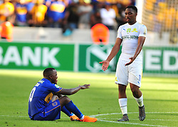 Cape Town--180401  Mamelodi Sundowns striker Sibusiso Vilakazi comforts Ayanda Patosi Cape Town City after being knocked out of the  Nedbank Cup quarter final game at the Cape Town Stadium.Sundowns won the game 2-1 and will play maritzburg in the Semi-final  .Photographer;Phando Jikelo/African News Agency/ANA