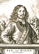 Jan (Johan) van Galen (1604-1653) was a Commodore of the Republic of the Seven United Provinces of the Netherlands.  He fought in the Eighty Years'  War against Spain, becoming a captain in 1630.  In 1639 he fought in the Battle of the Downs under the command of Joris van Cats.  In 1645, as a Rear-Admiral, he was part of Vice-Admiral Witte de With's convoy breaking the blockade of The Sound by Denmark.  In 1649 he was badly wounded when a gang of Spanish criminals intercepted him when he was returning in a sloop with prize money.  He retired in 1650 but went back when the First Angle-Dutch War broke out. He continued fighting till a cannonball smashed his right lower leg - it was amputated below-deck and he died ten days later.  Jan van Galen was given a state burial and in 1656, a marble grave memorial was erected.