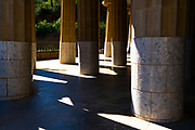 Sala de les Cent Columnes or  Sala Hipóstila - Parc Guell, Barcelona, Catalonia, Spain. A public park design by famed Catalan architect Antoni Gaudi featuring gardens and architectural curiousities.