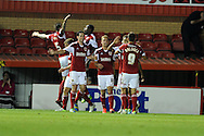 Bristol city's players celebrate after Jay Emmanuel-Thomas  scores the 1st goal.  Capital one cup match, 2nd round, Bristol city v Crystal Palace at Ashton Gate stadium in Bristol on Tuesday 27th August 2013. pic by Andrew Orchard , Andrew Orchard sports photography,