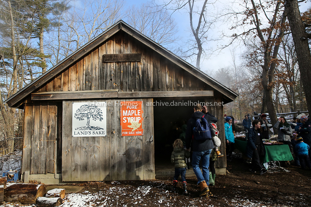 (3/23/19, WESTON, MA) Visitors check out the sugar shack  during the Sugaring Off Festival at the Bill McElwain Sugar House in Weston on Saturday. [Daily News and Wicked Local Photo/Dan Holmes]