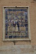 Historic religious ceramic tiles church wall,  city of Valencia, Spain