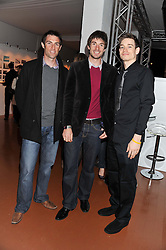 Left to right, 2012 Olympic hopefuls rower, MARK HUNTER, Olympic Champion rower ZAC PURCHASE and AARON COOK Taekwondo athlete at the launch of Flight BA2012 - an evening of Art, Food and Film to see Olympic Games inspires work by rising British Talent held at BA's pop up venue at 3-10 Shoreditch High Street, London E1 on 3rd April 2012.