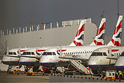 British Airways planes are parked up at London City Airport, in east London, the airport that was closed for commercial traffic till at least until the end of April started seeing aircrafts landing on Thursday, May 7, 2020. (Photo/ Vudi Xhymshiti)