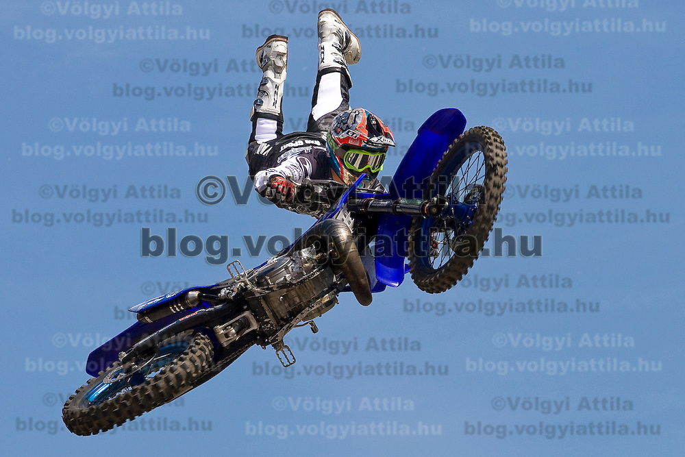 Massimo Bianconcini from Italy performs during a freestyle motocross show organized by KTM in front of Arena Plaza, Budapest, Hungary. Thursday, 08. May 2008. ATTILA VOLGYI