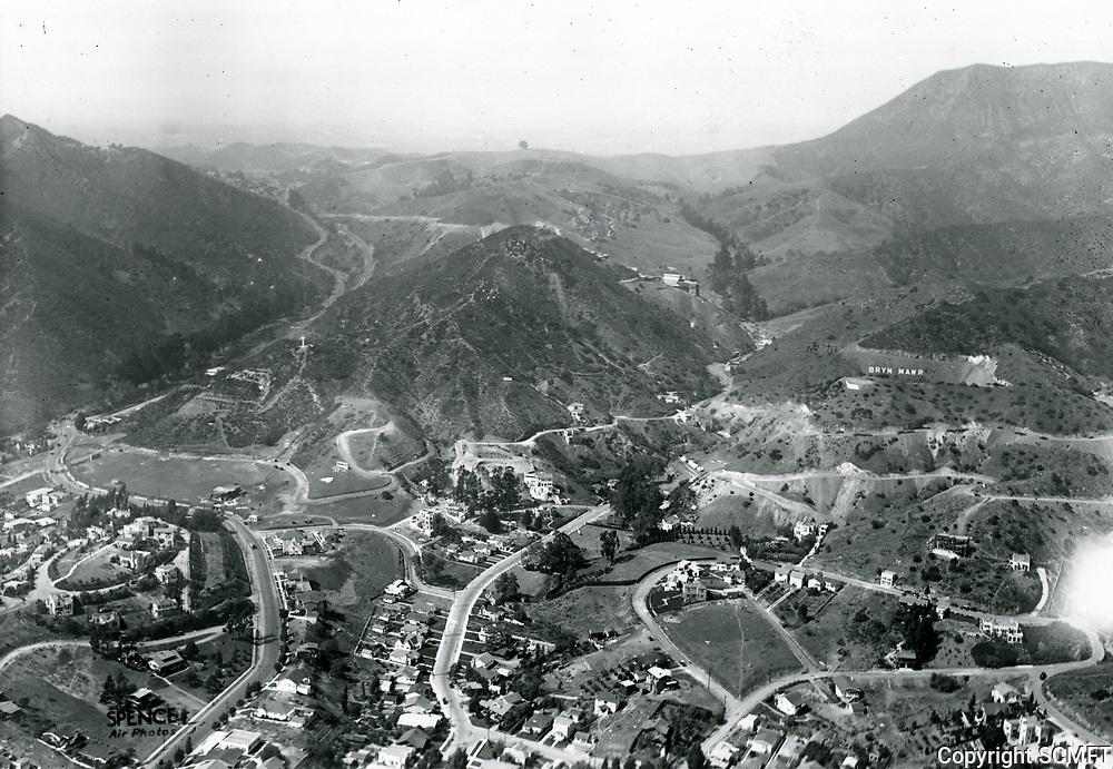 1924 Looking north at Cahuenga Pass (at left)