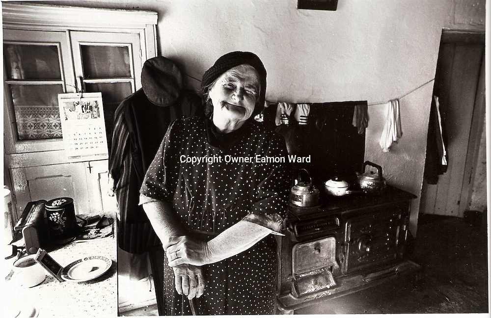 Mrs Kearney in her kitchen at Inchovea,Corofin ,Co Clare on a fine day in 1995...Photograph by Eamon Ward