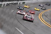 January 24-27, 2019. IMSA Weathertech Series ROLEX Daytona 24. Start of the 57th Daytona 24 with #77 Mazda Team Joest Mazda DPi, DPi: Oliver Jarvis, Tristan Nunez, Timo Bernhard, Rene Rast leading