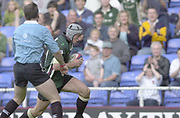 Reading, Berkshire, 29/09/02<br /> London Irish vs Wasps,<br /> Exiles Declan Danaher, attacks down the wing, during the ZURICH PREMIERSHIP RUGBY match at the Madejski Stadium,  [Mandatory Credit: Peter Spurrier/Intersport Images],